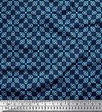 Soimoi Blau Baumwolle Batist Stoff quadratisches Dreieck