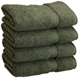 Superior 900 Gram Egyptian Cotton 4-Piece Hand Towel Set, Forest Green