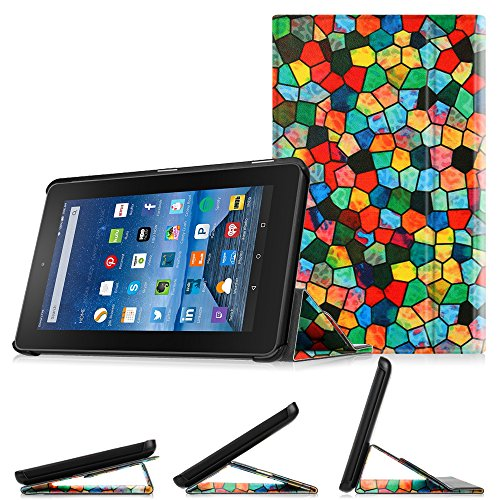 "FINTIE Fire 7 2015 Slim Book Cover Case - Super Thin Light Weight Stand Supports 3 Viewing Angles for Amazon Fire 7 Tablet (7"" Display 5th Generation - 2015 release), Mosaic"