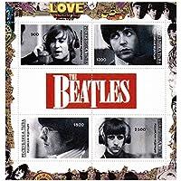 The Beatles 4 francobollo minifoglio su sfondo rosso logo - Menta e smontato