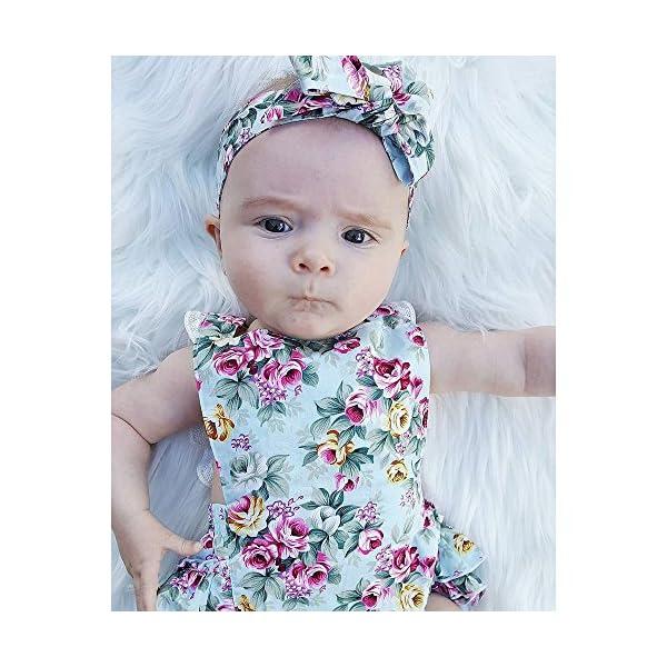 Covermason Bebé Niñas Floral Impresión Monos Linda Bodies Mameluco y Diademas (1 Conjuntos) (12-18M, Azul) 2