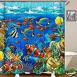 QCWN Duschvorhang mit tropischem Unterwasserwelt-Motiv, Korallenriff mit Fischen, wasserdichter Stoff, Badezimmer-Duschvorhang mit Haken, Polyester, 1, 59
