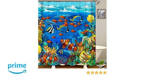 QCWN Ocean Animal Decor Shower Curtain Tropical Fish Nderwater Coral Reef Undersea World Waterproof Fabric Bathroom With Hooks 1