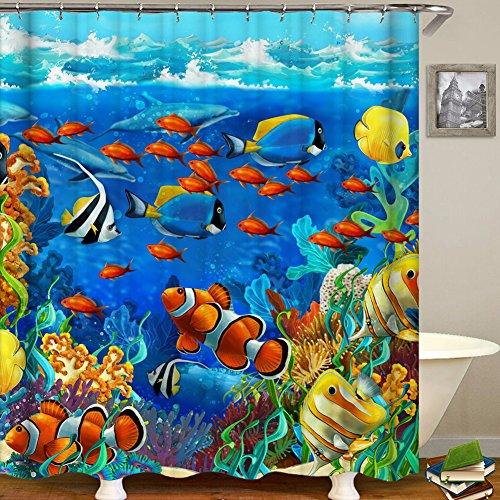 "Ocean Animal Cortina de ducha con ganchos, diseño de peces tropicales, agua de noche, coral, arrecife submarino, tela impermeable, para baño, poliéster, 1, 70"" x 70"""