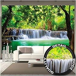 GREAT ART Peinture murale - Cascade Feng Shui - Décoration murale Nature Jungle Paysage Paradisiaque Vacances Thaïlande Asie Spa de bien-être Relax Photo Papier peint Fond d'écran (336 x 238cm)