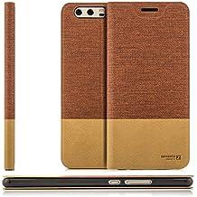 Custodia Huawei P10 Plus (VKY-L09) Cover Flip Wallet [Zanasta Designs] Case Copertura con Portafoglio - Pieghevole con Porta Carte, Alta Qualità | Rosso marrone