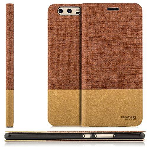 Zanasta Custodia Huawei P10 Plus (VKY-L09) Cover Flip Wallet Designs Case Copertura con Portafoglio - Pieghevole con Porta Carte, Alta qualità | Rosso Marrone