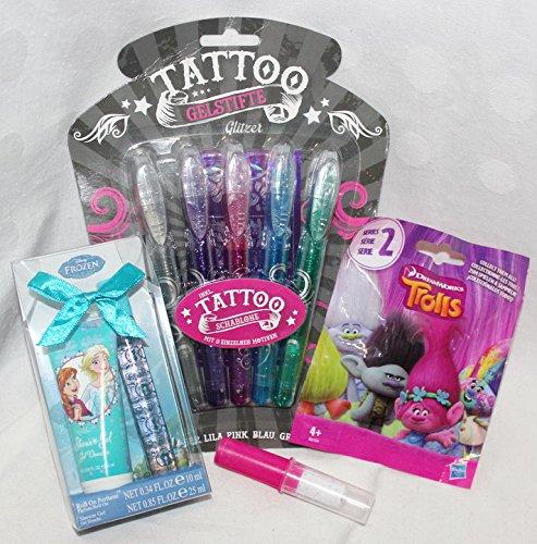 110114 Geschenk Set Tattoo Stifte für Mädchen als Geschenk verpackt mit Trolls Blindbag Frozen Parfum Set Lolly - Parfum-stift