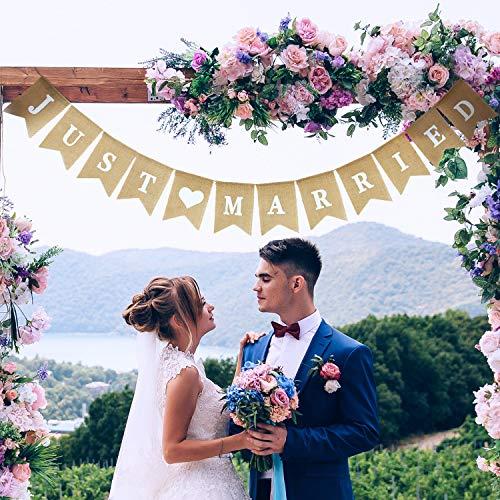 Sackleinen Hochzeit Banner Herz Muster Romantische Hochzeit Dekoration für Hochzeit Brautdusche Engagement ()