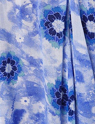 PU&PU Robe Aux femmes Ample Sexy / Soirée / Décontracté / Plage , Fleur / Imprimé Sans Bretelles Mini Polyester multi-color-2xl