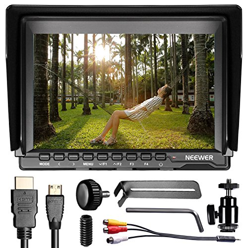 Neewer NW759 7 Zoll 1280x800 IPS Bildschirm Kamera Field Monitor mit 1 Mini HDMI-Kabel für BMPCC, AV-Kabel für FPV, 16:10 oder 4:3 verstellbare Display Übersetzung für Sony Canon Nikon Olympus Penta (Netzanschluss und Batterien nicht Enthalten) -