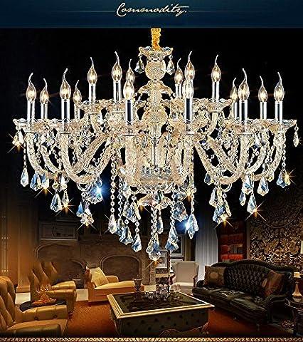 Lustre de cristal européen Salon de la lumière des bougies Luminaire de plafond à la chambre Lustres de restaurant , 18