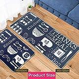 Leebei Küchenmatten Anti-Rutsch Waschbar Flanell Fußmatte Innenbereich Teppiche Küchenteppich Küchenläufer Matte (Küche, 15,7×23,6 Zoll + 15,7×47,2 Zoll) - 3