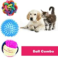 PoochBox Ball Chew Teether Toys for Dog, Puppy, Cat, Kitten -Combo of 3