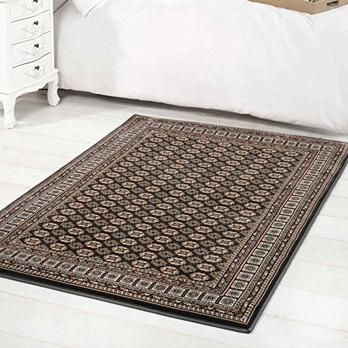 Flair Rugs Million Point Bokhara Traditional Woven Rug, Black, 120 x 170 Cm