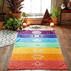"Jisen Yoga Mats Beach Towel with Tassels Rainbow Chakra Tapestry Wall Hanging for Bedroom Living Room Dorm,59""x30"""