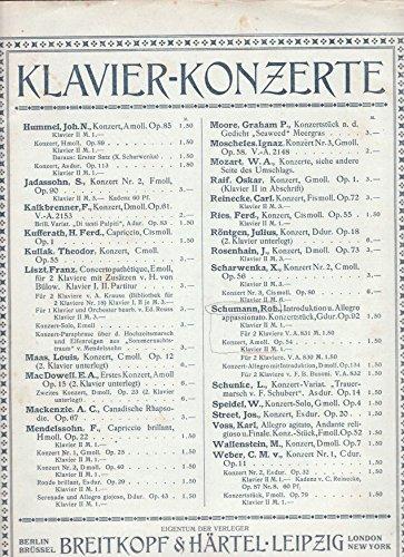 Rob. Schumann. Konzert. A moll. Op. 54. Pianoforte II. Ausgabe für zwei Pianoforte unter Beibehaltung der von Carl Reinecke [...] bezeichneten Original Pianoforte Stimmern als erstes P. Verlag: Breitkopf & Härtel (Leipzig - Verlagsnummer 10121)