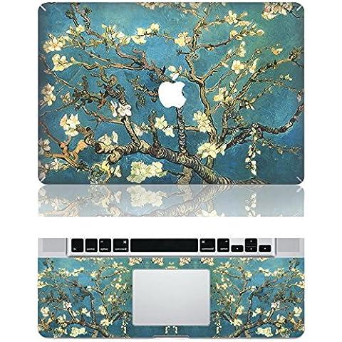 Vati Hojas extraíble piel hermosa Flores protectora cubierta completa del arte del vinilo de la etiqueta engomada de la cubierta para Apple MacBook Pro Retina