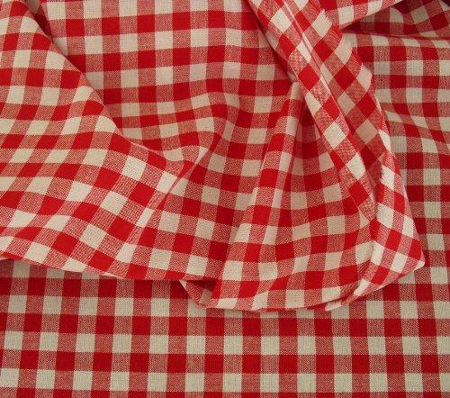 Vichy-Karo in Rot / Weiß Baumwoll-Stoff kariert - Karogröße: 10 x 10 mm