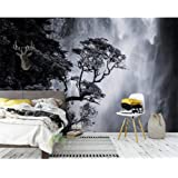 RTYUIHN Wallpaper black and white landscape waterfall creative home decoration wallpaper modern wall art decoration