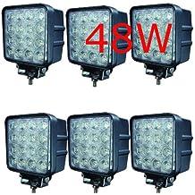 6x LED 48W Faro de trabajo para trabajo lámpara 38006000K 67ip de marcha atrás–Tractor–Excavadora