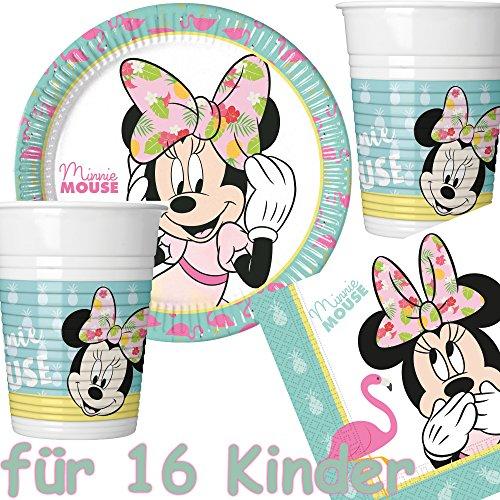 Procos/Carpeta 53-teiliges Party-Set * Minnie Mouse - Tropical * mit 16 Teller + 16 Becher + 20 Servietten + Deko // Flamingo Kindergeburtstag Partygeschirr Kinder Geburtstag Mottoparty Luftballons