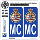 2 Autocollants plaque immatriculation Auto MC Automobile Club de Monaco - Blason...