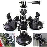 Homeet Voiture Ventouse Auto Support à Ventouse Fixation Mount Caméra Auto Triple Suction Cup pour DSLR Caméras / Sport Caméras