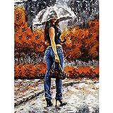 DIY Ölgemälde, Malen nach Zahlen Kit für Kinder Erwachsene Anfänger 40,6x 50,8cm–Pretty Frau mit Regenschirm, Zeichnen mit Pinsel Weihnachten Decor Dekorationen Geschenke Without Frame