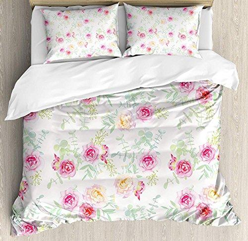 Aquarell Blume 3 Stück Bettwäsche Set Bettbezug Set, weiche farbige Rosen Vintage Old Style Retro Malerei Frühling Garten, 3 Stück Tröster/Qulit Cover Set mit 2 Kissenbezügen, weiß rosa grün -