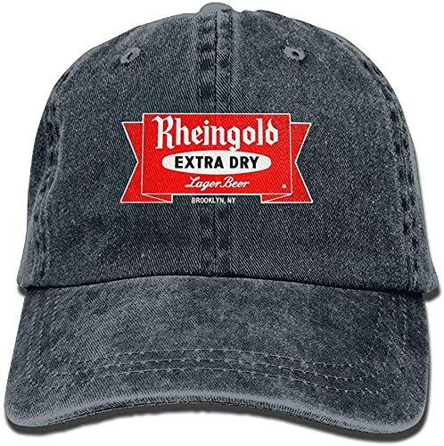 ingshihuainingxiancijies Herren Schwarz Einstellbare Vintage-gewaschenem Denim Baseball Cap Rheingold-Bier-Logo-Vati-Hut Trucker Cap