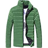 LHWY Men Quilted Winter Coats Cotton Stand Zipper Warm Winter Thick Tracksuit Outwear Jacket Lightweight Casual