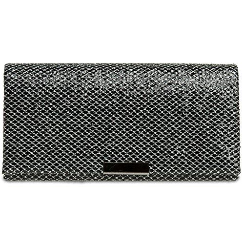 CASPAR TA342 Damen kleine elegante Glitzer Clutch Tasche Abendtasche Schwarz-Silber
