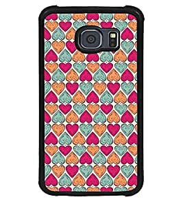 Fuson Premium Color Hearts Metal Printed with Hard Plastic Back Case Cover for Samsung Galaxy S6