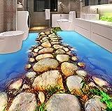 Rureng Pvc Selbstklebende Wasserdichte 3D Bodenfliesen Tapete Moderne Fluss Stein Foto Wandbilder Badezimmer Küche 3 D Bodenbelag Tapeten