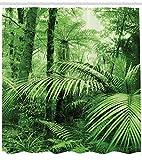 Abakuhaus Duschvorhang, Palmen und Exotische Pflanzen im Tropischen Dschungel Wilde Natur Zen Thema Illustration Druck, Wasser und Blickdicht aus Stoff mit 12 Ringen Schimmel Resistent, 175 X 200 cm