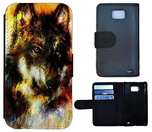 Schutz Hülle Flip Cover Handy Tasche Etui Case für (Apple iPhone 5 / 5s, 1035 Surfer Welle) 1032 Wolf