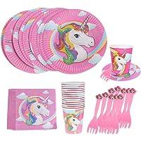 Tumao 80 PCS Stoviglie all'unicorno Forniture per Feste USA e Getta Piatto di Festa Coltello e forchetta per Feste Party…