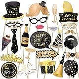 HOWAF 2020 Neujahr Fotorequisiten Fotoaccessoires (25Pcs), Silvester Photo Booth Props Verkleidung Mitbringsel Maske Party Zubehör für Erwachsene Kinder Silvester Deko 2020 Silvester Party Dekoration