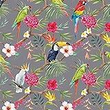 Stoff Dekostoff Digitaldruck TROPICAL BIRDS Vogel Stoff Canvas - Meterware - Stoff zum Nähen