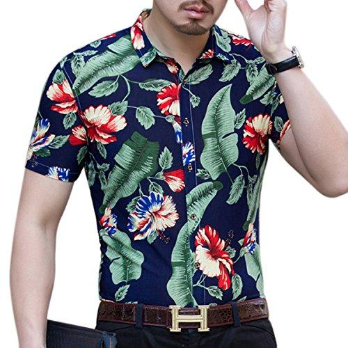 YOUTHUP Herren Sommerhemd Hawaiihemd Kurzarm Hemd Blatthemd Freizeit Hemd Besonders für Reise Urlaub Design 4
