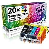 N.T.T. 20 STÜCK (4 x SETS) XL Druckerpatronen / Tintenpatronen Tinte kompatibel zu PGI-525BK , CLI-526C , CLI-526M , CLI-526Y und CLI-526BK