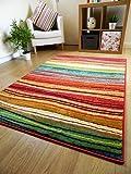 "Rug Modern Designer Carpet Colourful Striped Red Green Orange Multicoloured (120x170cm (4'x5'6""))"