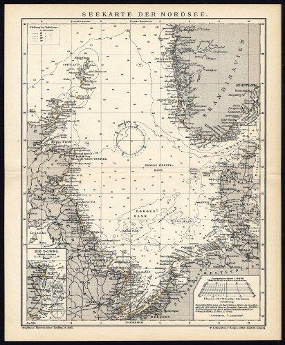 Antike Karte-Sea Abbildung-Nordsee-England-Niederlande-Dänemark, Brockhaus 1893 -