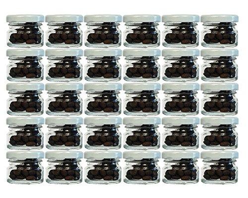 30 Ml Glas (30er Set Sturzgläser Mini Gläser | Füllmenge 30 ml | Deckelfarbe Weiß | To 43 Rundgläser Marmeladengläser Obstgläser Einweckgläser Honig Gläser Einmachgläser Probiergläser, Imker)
