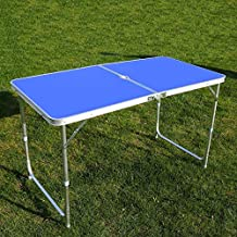 Mesa Plegable portátil con Orificio para Paraguas Mesa de Camping Rectangular de Aluminio, Mango telescópico