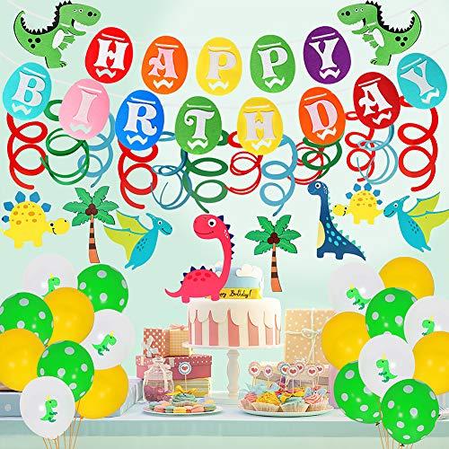 JDYW 67pcs Dinosaurier Geburtstag Party Deko mit 1pcs Alles Gute zum Geburtstag Banner 30pcs Luftballons 30pcs hängende wirbelt 6pcs Dinosaurier temporäre Tattoos Dinosaur Birthday Party Decorations