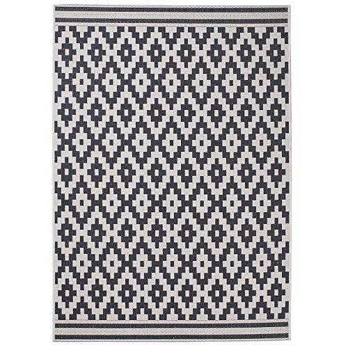 HomeLinenStore Designer-Stil (langlebig, Wolle/Teppich schwarz Diamant in Zwei unterschiedlichen Größen, Polypropylen, Wool/Black, 160 x 220 cm -