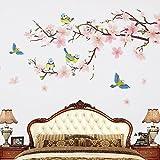 Wopeite Floraler Wand aufkleber Sticker DIY Klebend Blumen Pfirsich Baum Zweig Instant Wand aufkleber Sticker Wohnzimmer Schlafzimmer 45 X 60CM
