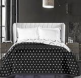 DecoKing 86254 Tagesdecke 170 x 210 cm schwarz weiß Bettüberwurf zweiseitig pflegeleicht gepunktet black white Hypnosis Collection Dark Night